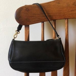 Black leather coach clutch bag